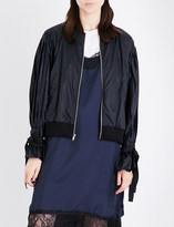 Clu Pleated puff-sleeve sheell bomber jacket