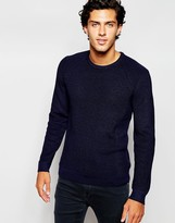 Ted Baker Ribbed Knitted Fishermans Jumper - Blue
