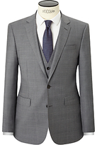 John Lewis Woven In Italy Half Canvas Super 120s Wool Check Tailored Suit Jacket, Grey
