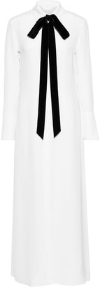 Olivia von Halle Hero Pussy-bow Silk-marocain Maxi Dress