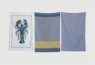 Creative Co-op Cotton Lobster Characteristics (Set of 3 Patterns) Tea Towels