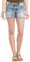 Silver Jeans Co. Suki Destructed Rolled Cuff Woven Stretch Denim Shorts