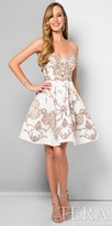 Terani Couture Metallic Embroidered Sweetheart Fit and Flare Cocktail Dress