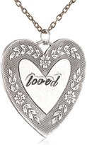 "Alisa Michelle Small Cable Hand Stamped ""Loved"" Heart Necklace, 28"""