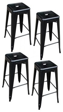 """Williston Forge Theron Stackable Metal 30"""" Bar Stool Williston Forge Color: Black"""