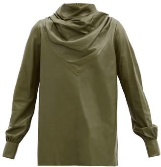 Dodo Bar Or Bilbi Drape-neck Leather Top - Khaki