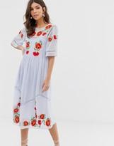 Asos Design DESIGN embroidered smock midi dress with ladder trims