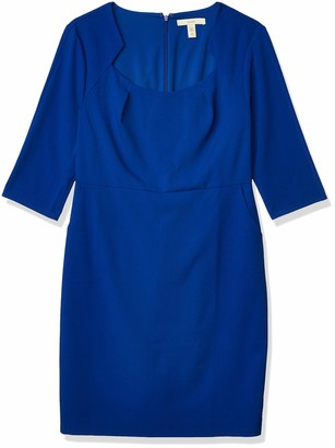 Lark & Ro Women's Three Quarter Sleeve Sheath Dress with Framed Neckline