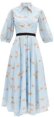 Emilia Wickstead Helen Floral-print Cotton Midi Shirt Dress - Blue Print