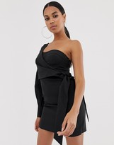 4th + Reckless one shoulder wrap tie mini dress in black