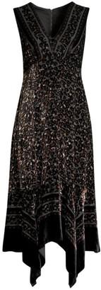 Nanette Lepore Aroma Leopard Burnout Velvet Midi Dress