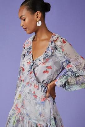 Coast Ruffle Detail Wrap Short Dress