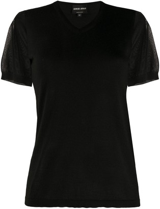 Giorgio Armani 2000s Sheer Sleeve Top