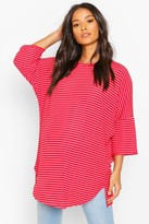 boohoo Maternity Oversized Stripe Ribbed T-Shirt
