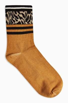 Topshop Womens Mustard Animal Stripe Socks - Mustard