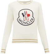 Moncler Logo-embroidered Wool-blend Sweater - Womens - White Multi