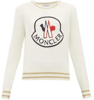 Moncler Logo Embroidered Wool Blend Sweater - Womens - White Multi