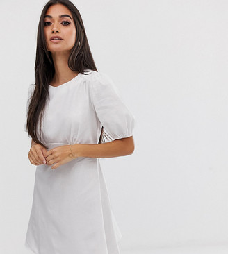 Asos DESIGN Petite linen mini dress with puff sleeves-White
