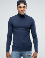 Asos Extreme Muscle Long Sleeve T-Shirt With Roll Neck In Navy