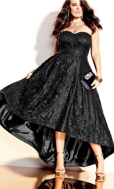 City Chic Krystal Maxi Dress - black