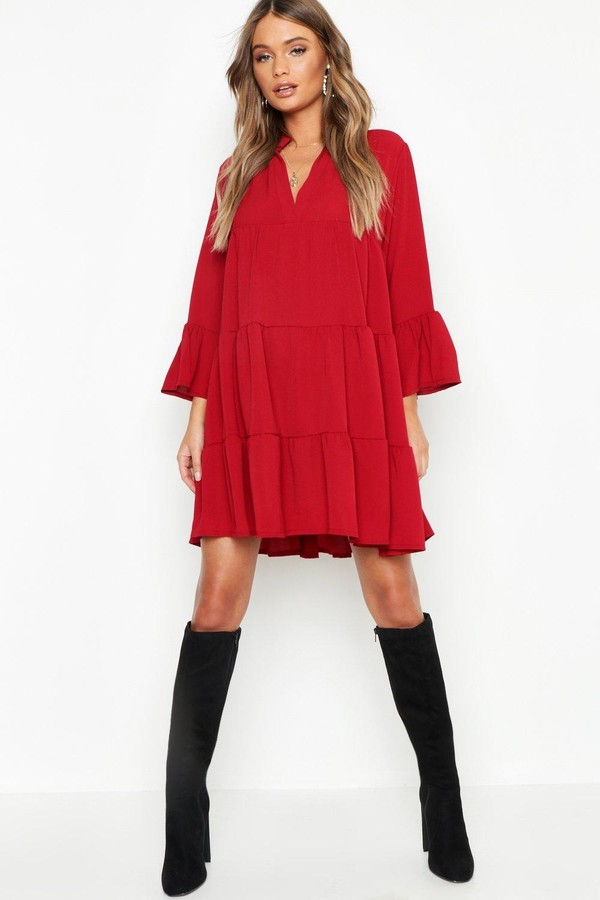 boohoo Woven Tiered Smock Dress