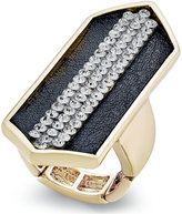 Thalia Sodi Gold-Tone Pavé Jet Faux-Leather Stretch Ring, Only at Macy's