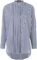 Cédric Charlier mandarin neck checked shirt - women - Cotton/Polyamide/Other fibres - 40