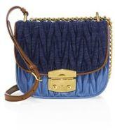 Miu Miu Matelasse Denim & Leather Crossbody Bag