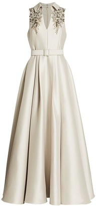Badgley Mischka Embellished Sleeveless Gown