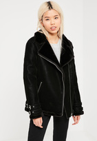 Missguided Black Oversized Fur Lined Aviator Pilot Jacket