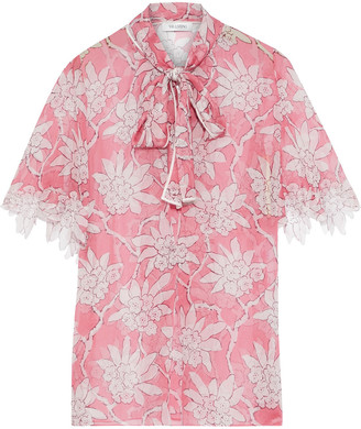 Valentino Pussy-bow Floral-print Silk-chiffon Blouse