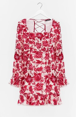 Nasty Gal Womens Lace Talk About Love Floral Mini Dress - Pink - 6, Pink
