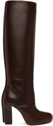 Lemaire Brown Leather Heeled Tall Boots