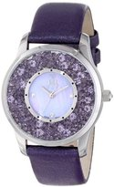 "Jivago Women's JV3412 ""Brilliance"" Stainless Steel Watch with Purple Leather Band"