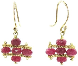 Ten Thousand Things Ruby Foxtail Crest Yellow Gold Earrings