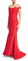 Zac Posen Pleated Off-the-Shoulder Mermaid Gown, Dark Red