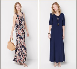 Women With Control Attitudes by Renee Regular Set of 2 Printed & Solid Maxi Dresses