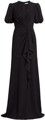 ML Monique Lhuillier Short-Sleeve Crepe Gown