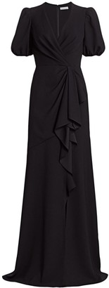 ML Monique Lhuillier Short-Sleeve Crepe Gown