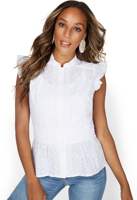 New York & Co. High-Neck Ruffle Eyelet Top