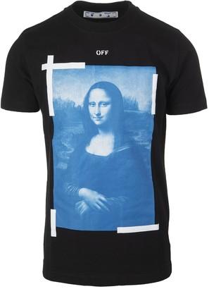 Off-White Black Man T-shirt With Monalisa Graphic Print