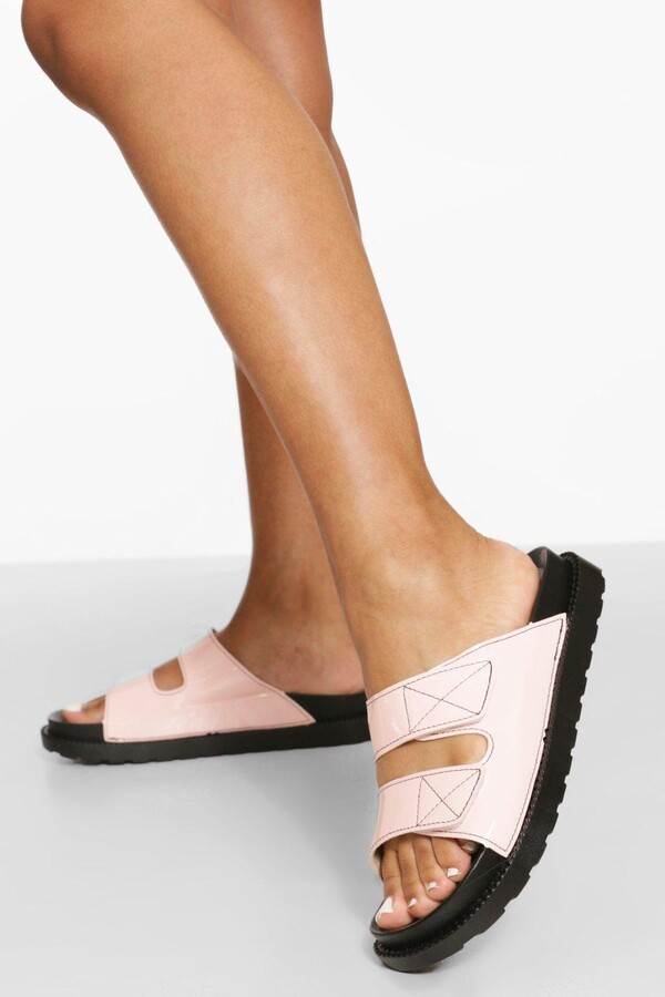 Thumbnail for your product : boohoo Patent Contrast Stitch Double Strap Sliders