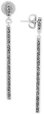 Lois Hill Filigree Stick Linear Drop Earrings in Sterling Silver