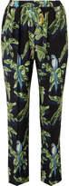 Stella McCartney Printed Silk Crepe De Chine Tapered Pants - Green