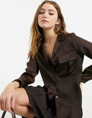 Style Cheat satin shirt with pocket detail in brown