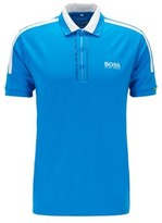 HUGO BOSS - Stripe Detail Polo Shirt In Recycled Stretch Fabric - Blue