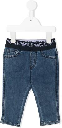 Emporio Armani Kids Elasticated-Waist Slim-Fit Jeans