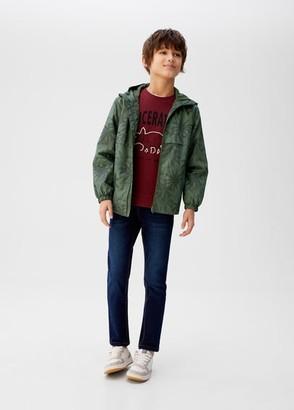 MANGO Raincoat hooded jacket dark navy - 7 - Kids