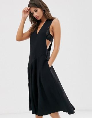 Religion pinnafore midi dress-Black