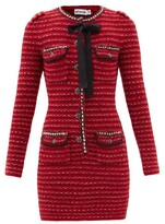 Thumbnail for your product : Self-Portrait Tweed-effect Wool-blend Knitted Mini Dress - Red Multi